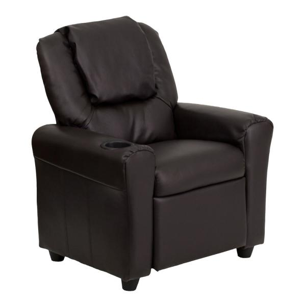 Flash Furniture Contemporary Brown Leather Kids Recliner with Cup Holder and