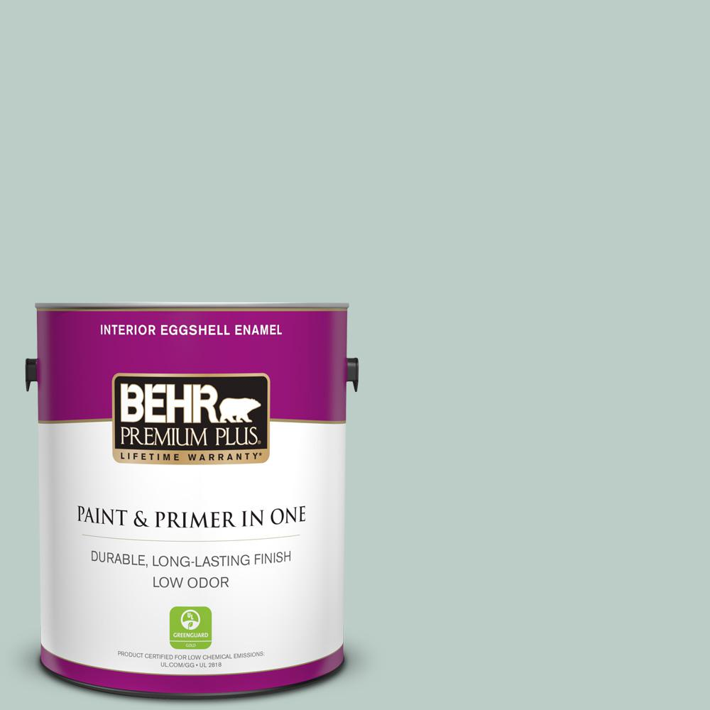 Behr Premium Plus 1 Gal Home Decorators Collection Hdc Cl 23 Soothing Spring Eggshell Enamel Low Odor Interior Paint Primer 205001 The Home Depot