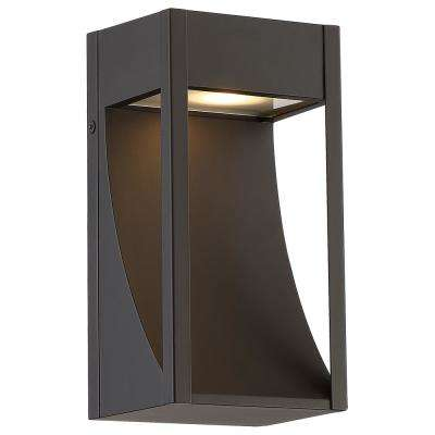 Monticello 1-Light Oil Rubbed Bronze Outdoor Integrated LED Wall Mount Lantern Small with Etched Lens