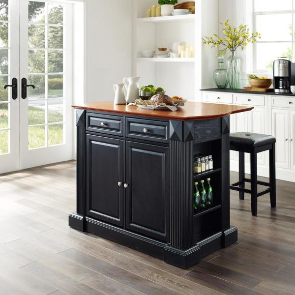 Coventry Black Kitchen Island with Square Seat Stools