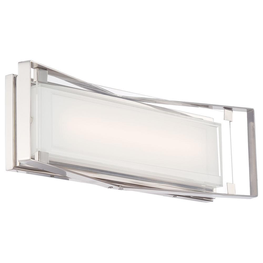 Crystal-Clear 23-Watt Polished Nickel Integrated LED Bath Light