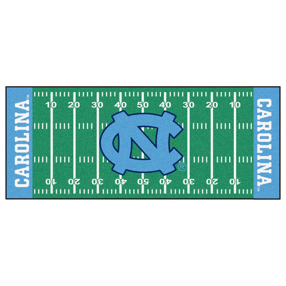 NCAA - University of North Carolina - Chapel Hill Green 3 ft. x 6 ft. Indoor Football Field Runner Rug