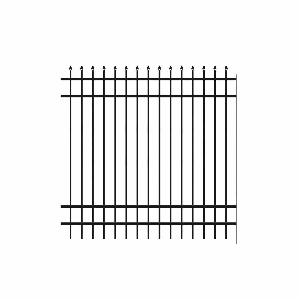 Cascade Standard-Duty 6 ft. H x 6 ft. W Black Aluminum Pre-Assembled Fence Panel