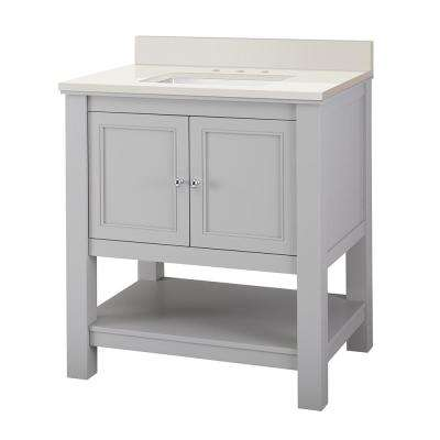 Gazette 31 in. W x 22 in. D Vanity in Grey with Engineered Marble Vanity Top in Winter White with White Sink