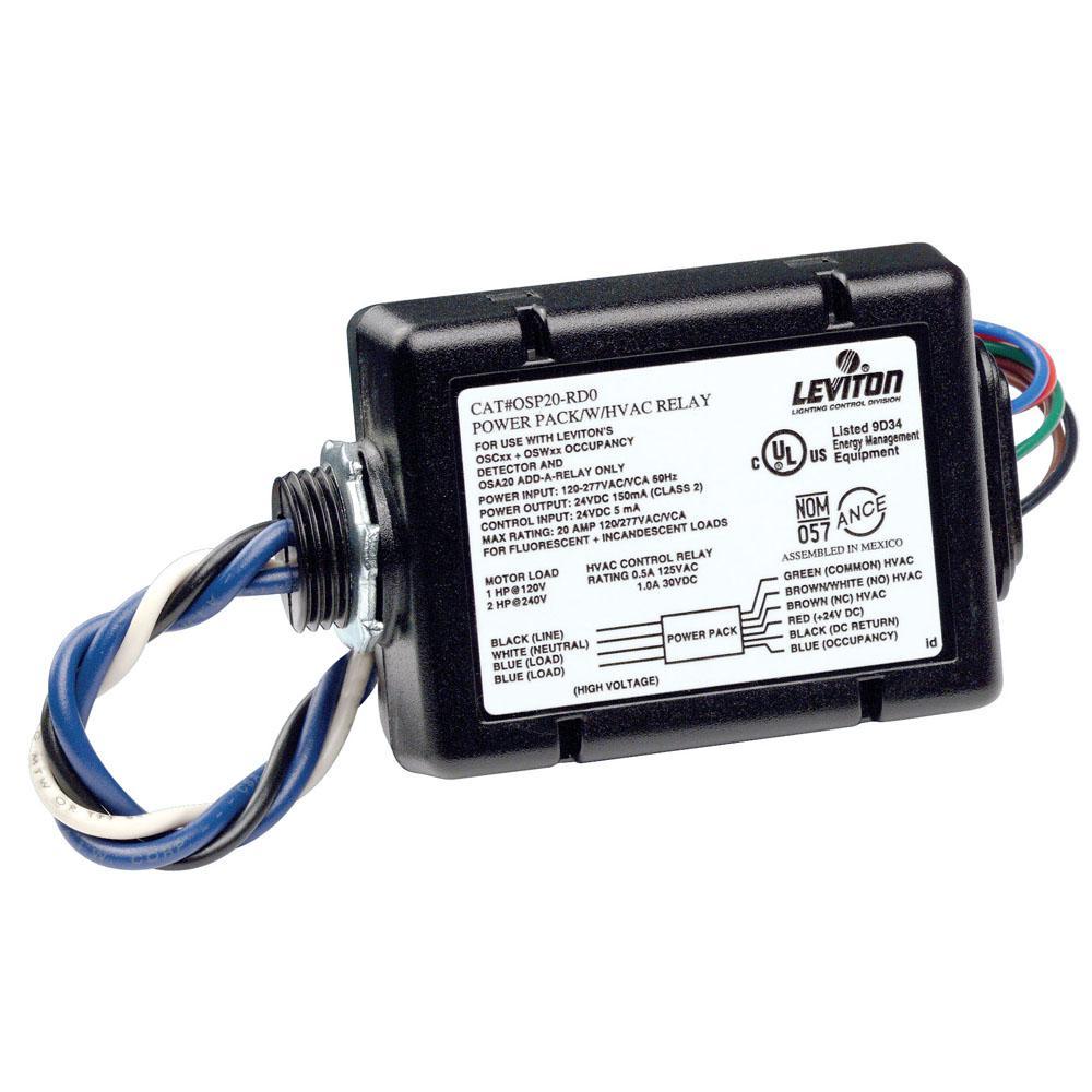 20 Amp FL/INC, 120-277V Fluorescent/Incandescent Power Pack for Occupancy Sensor with HVAC Relay, Black