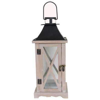 14 in. Wood and Metal Lantern
