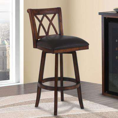 Sonoma 30 in. Brown Faux Leather and Pecan Wood Finish Swivel Barstool