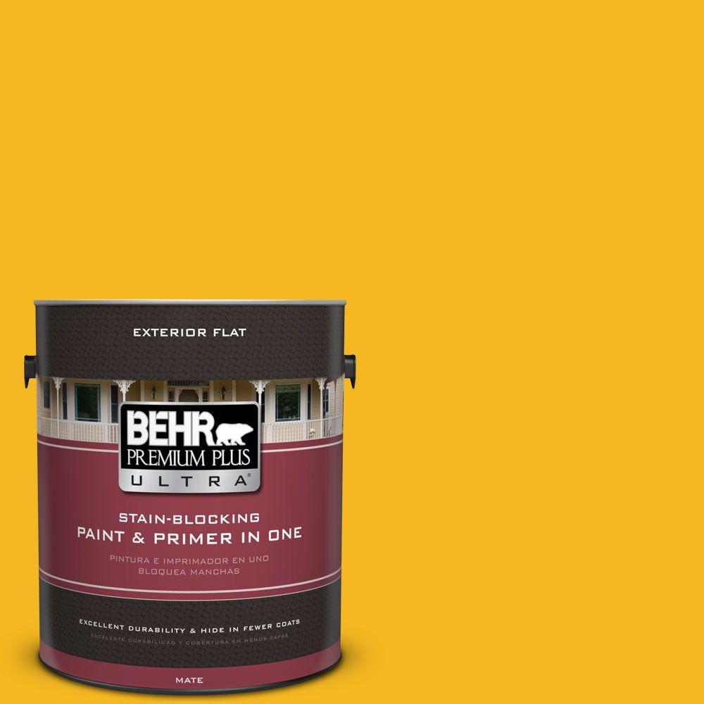 1 gal. #HDC-MD-02A Yellow Groove Flat Exterior Paint
