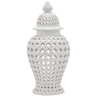 34 in. White Ceramic Jar