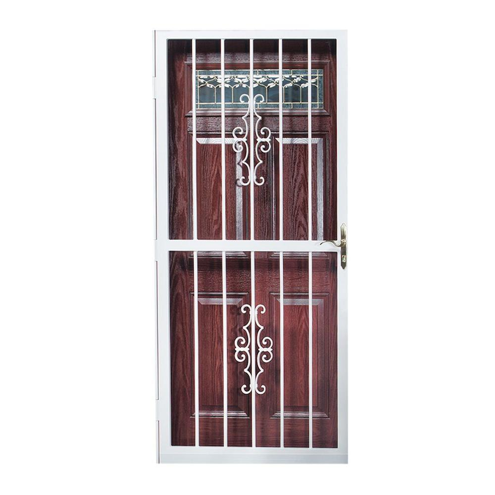 First Alert 36 in. x 80 in. Cambridge Steel White Security Door