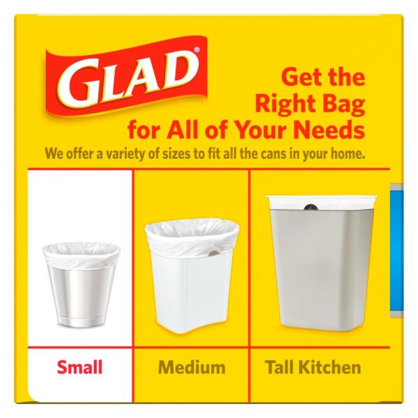 Glad 4 Gal White Fresh Clean Odorshield Quick Tie Small Trash Bags 26 Count 1258778812 The Home Depot