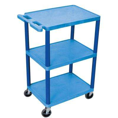 HE 24 in. 3-Shelf Utility Cart in Blue