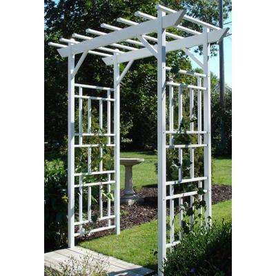 85 in. H X 72 in. W White Vinyl PVC Wellington Arbor