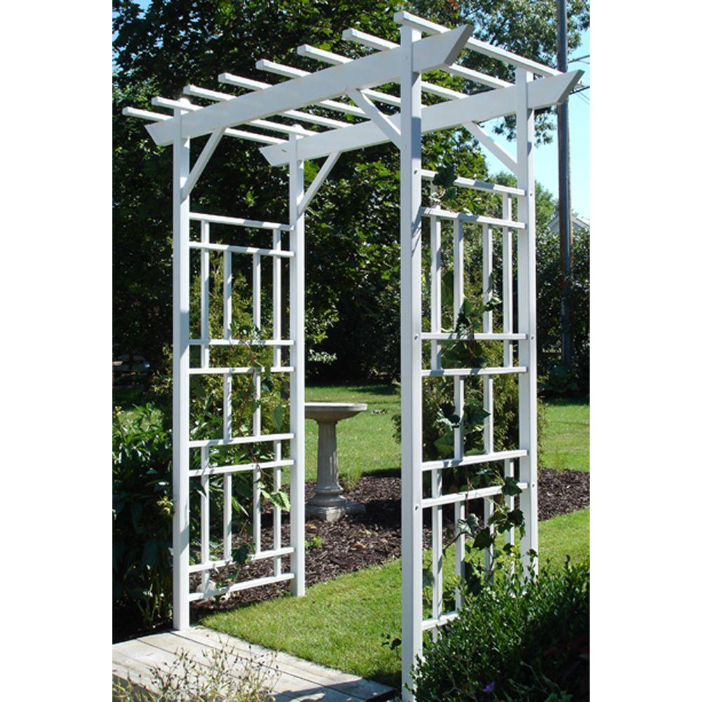 Beautiful W White Vinyl PVC Wellington Arbor 11179   The Home Depot