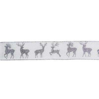 2.5 in. x 16 yds. White and Silver Glitter Deer Wired Craft Ribbon