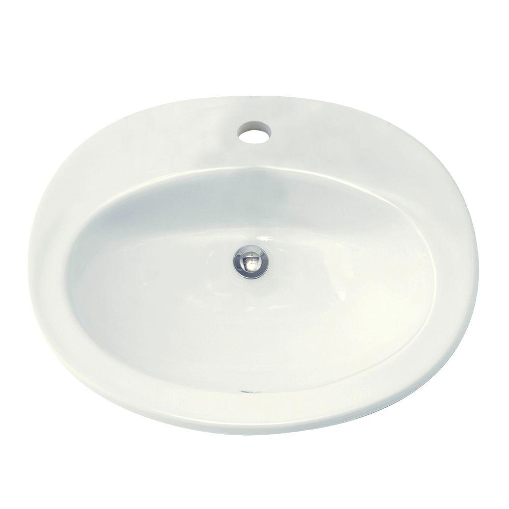 Glacier Bay Drop In Bathroom Sink In White 13 0013 4whd