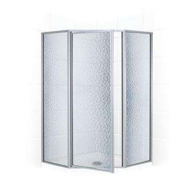 Legend Series 58 in. x 70 in. Framed Neo-Angle Shower Door in Platinum and Obscure Glass