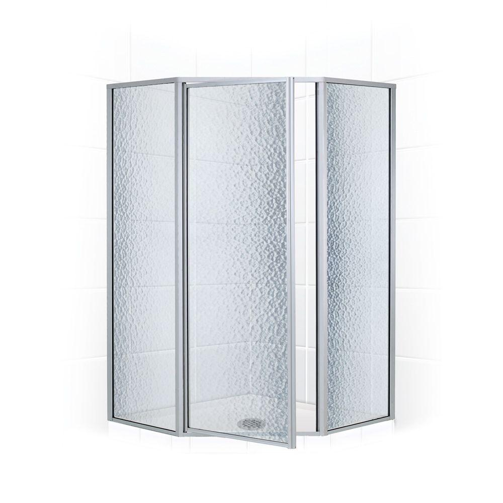 Coastal Shower Doors Legend Series 59 in. x 66 in. Framed Neo-Angle Shower Door in Platinum and Obscure Glass