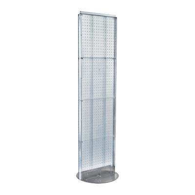 60 in. H x 16 in. W 2- Sided Styrene Pegboard Floor Display on Revolving Base in Clear