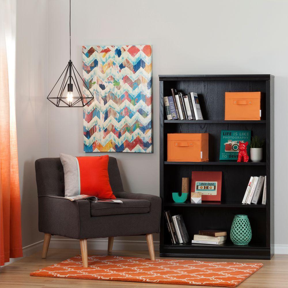 South Shore Morgan Black Oak Storage Open Bookcase