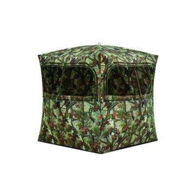Grounder 350 3-Person Hub Blind, Woodland Camo