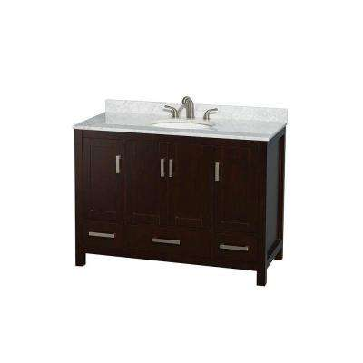 Sheffield 48 in. Vanity in Espresso with Marble Vanity Top in Carrara White