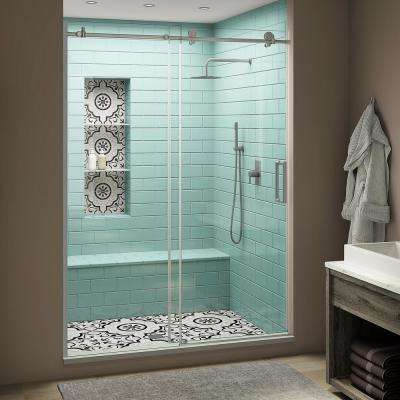 Coraline XL 60 - 64 in. x 80 in. Frameless Sliding Shower Door with StarCast Clear Glass in Stainless Steel Right Hand