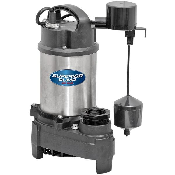 Superior Pump 1 HP Submersible Stainless Steel-Cast Iron Sump Pump with Vertical Float Switch