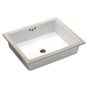 Kohler Kathryn Under-Mounted Vitreous China Bathroom Sink with Glazed Underside in White with Overflow Drain by KOHLER