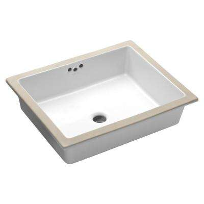 Kathryn Under-Mounted Vitreous China Bathroom Sink with Glazed Underside in White with Overflow Drain