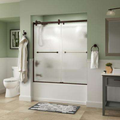 Everly 60 in. x 58-3/4 in. Semi-Frameless Contemporary Sliding Tub Door in Bronze with Rain Glass