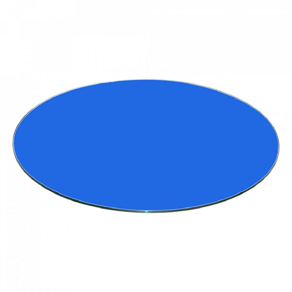 "34"" Inch Blue Round Glass Table Top Back Painted 3/8"" Thick"
