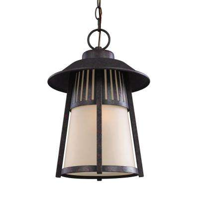 Hamilton Heights Oxford Bronze 1-Light Outdoor Hanging Pendant with LED Bulb