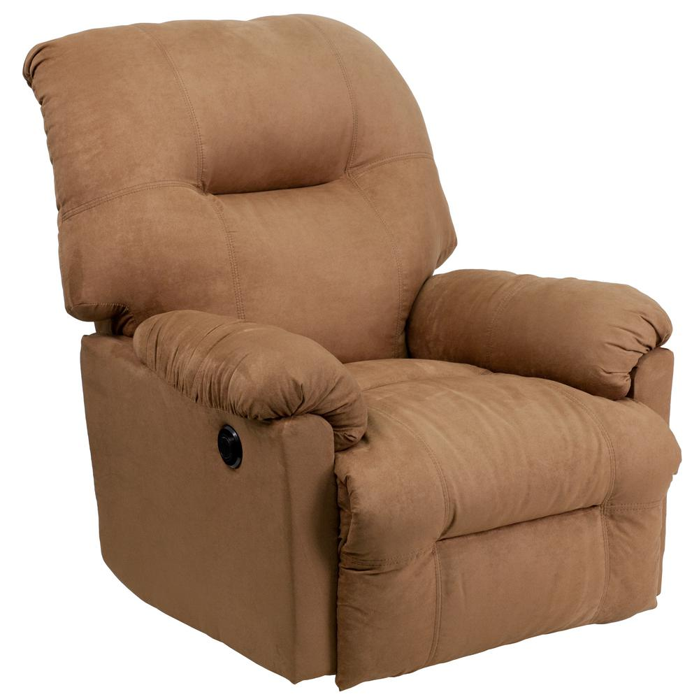 Good Flash Furniture Contemporary Calcutta Camel Microfiber Power Chaise Recliner  With Push Button