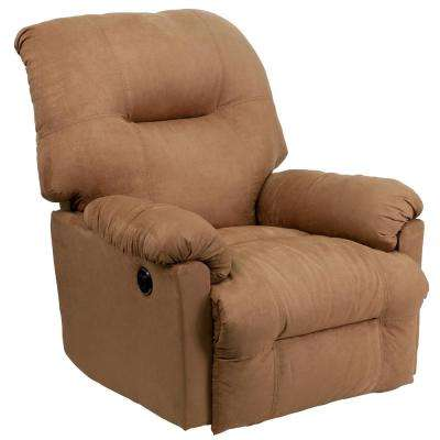 Contemporary Calcutta Camel Microfiber Power Chaise Recliner with Push Button