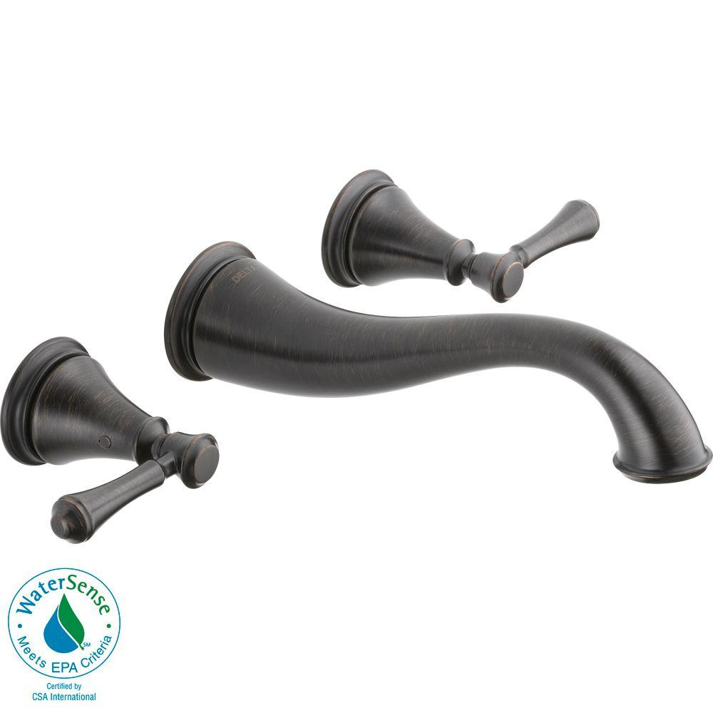 Delta Cassidy Wall Mount 2-Handle High-Arc Bathroom Faucet in Venetian Bronze