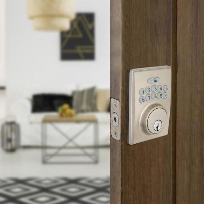 Square Satin Nickel Electronic Single Cylinder Keypad Deadbolt