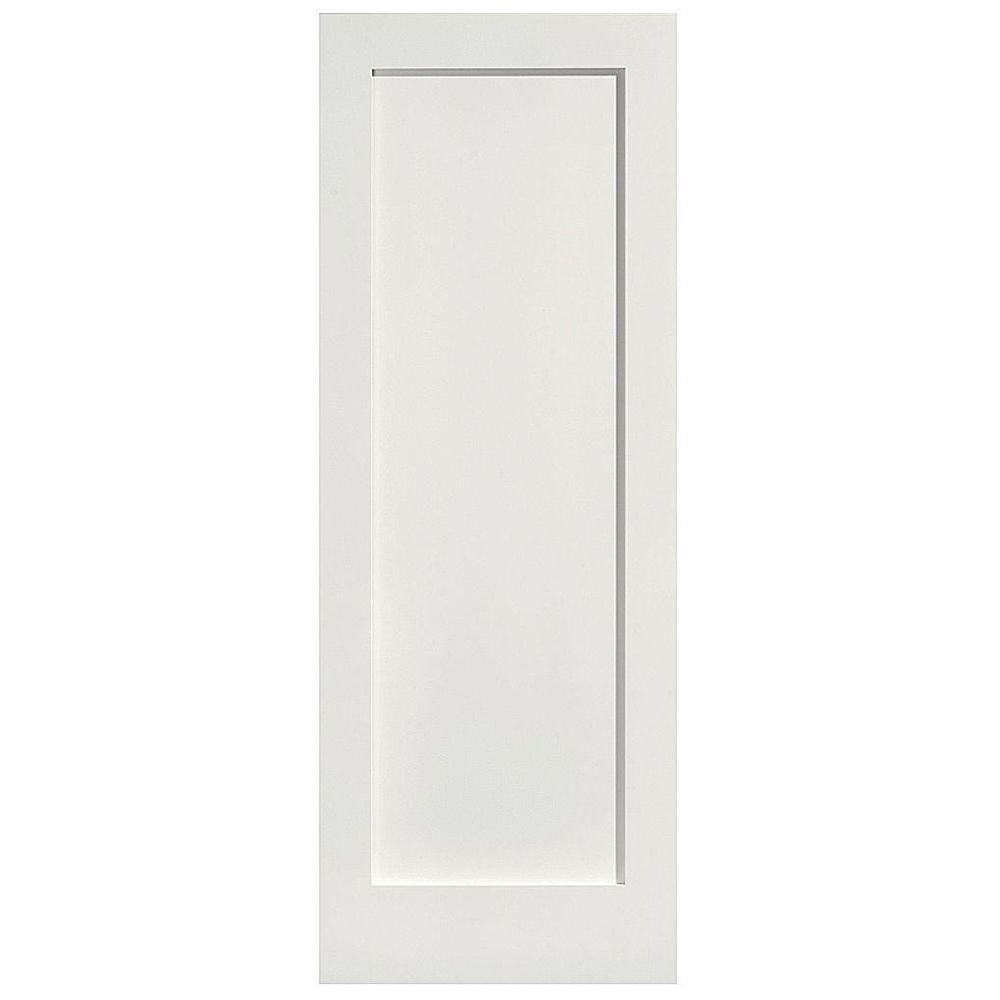 Masonite 30 in. x 80 in. MDF Series 1-Panel Left-Handed Solid-Core Smooth Primed Composite Single Prehung Interior Door