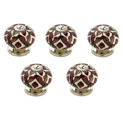 Brown Leaves 1-31/50 in. (41 mm) White and Brown Cabinet Knob (Pack Of 5)