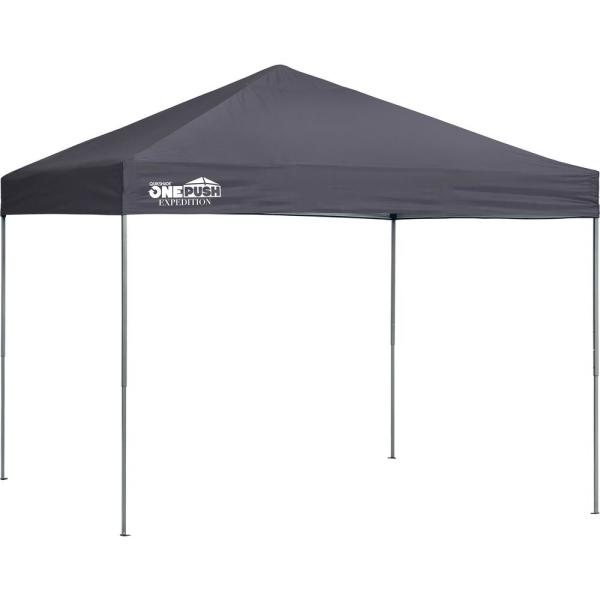 Quik Shade Expedition EX100 1-Push 10 ft. x 10 ft. Charcoal Straight Leg Pop-Up Canopy