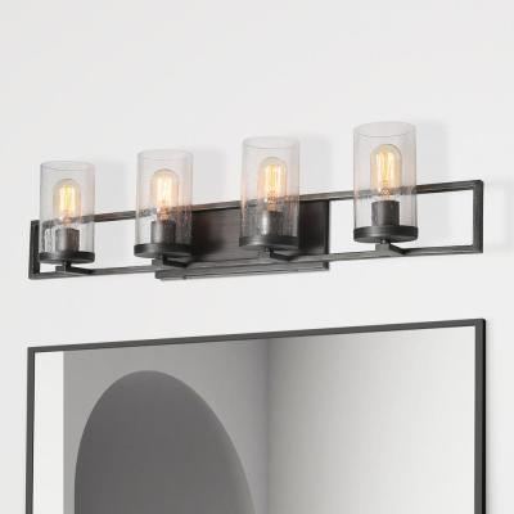 4-Light Matt Black LED Compatible Modern Farmhouse Bar Bath Vanity Wall Sconce with Clear Seeded Glass Shades