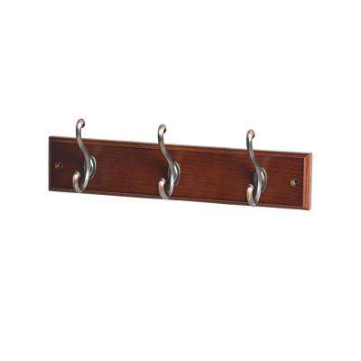 13-7/9 in. L Oil Rubbed Bronze Scroll 3-Hooks on Walnut Hook Rail