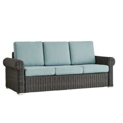 Camari Charcoal Rolled Arm Wicker Outdoor Sofa with Blue Cushion