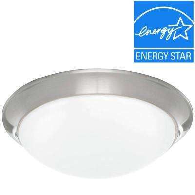 Brushed Nickel LED Flushmount with Frosted White Glass