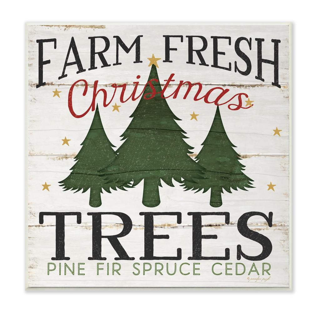 "12 in. x 12 in. ""Farm Fresh Christmas Trees"" by Jennifer Pugh Printed Wood Wall Art"