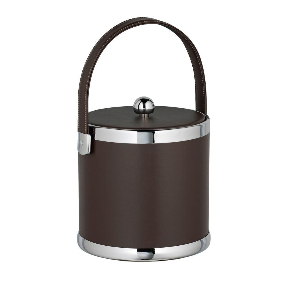 Contempo 3 Qt. Brown Ice Bucket with Stitched Handle and Flat