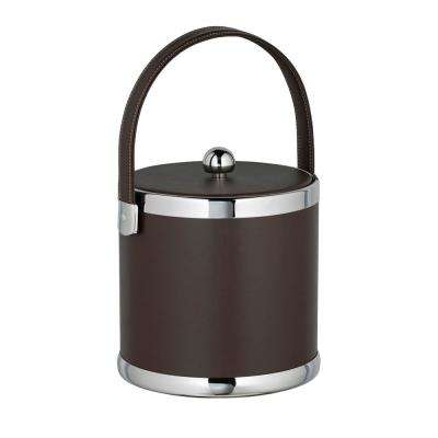 Contempo 3 Qt. Brown Ice Bucket with Stitched Handle and Flat Vinyl Lid