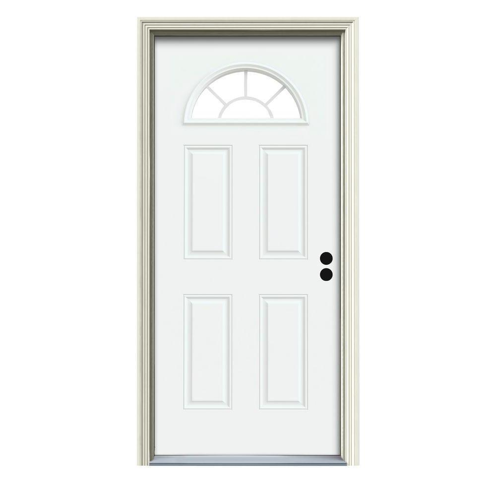JELD-WEN 36 in. x 80 in. Fan Lite White Painted Steel Prehung Left-Hand Inswing Front Door w/Brickmould
