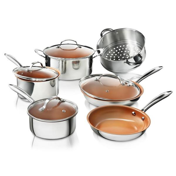 Gotham Steel Stainless Steel 10-Piece Pro Chef Non-Stick Ti-Cerama Premium Cookware Set with Lids