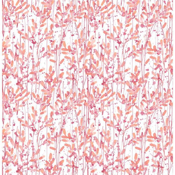 Grant, Willow Pink Leaves Wallpaper